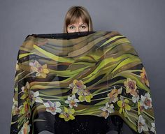 Scarf Narcissus and jonquil batik silk chiffon for an