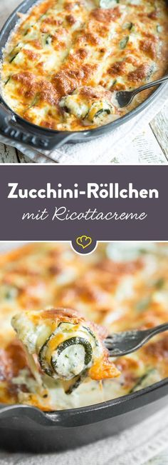 The small zucchini rolls are spread with a spicy ricotta cream, rolled up and baked with mozzarella. The small zucchini rolls are spread with a spicy ricotta cream, rolled up and baked with mozzarella. Grilling Recipes, Veggie Recipes, Low Carb Recipes, Diet Recipes, Vegetarian Recipes, Cooking Recipes, Healthy Recipes, Ricotta, No Carb Diets