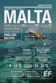 hours of sunshine a year and some of the clearest waters in the world. Check out our Malta infographic. Places Around The World, Travel Around The World, Around The Worlds, Malta Travel Guide, Travel Guides, Places To Travel, Travel Destinations, Travel Itinerary Template, World Geography