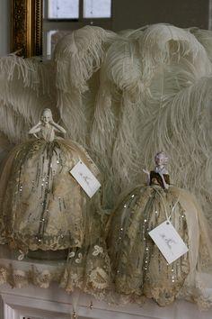 Sheelin Antique Lace Shop Pin Cushion Ladies With Antique Lace Gowns
