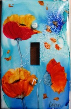 Alcohol ink switch plate poppy flower painting art
