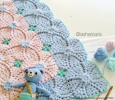 Vintage wedding motif as baby blanket Crochet Blocks, Crochet Squares, Granny Squares, Crochet Gratis, Free Crochet, Irish Crochet, Crochet Baby Blanket Free Pattern, Knitting Patterns, Crochet Patterns