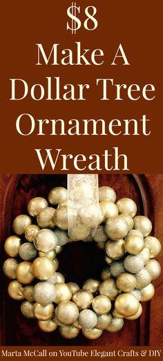 $8 dollar tree ornament wreath