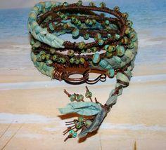 Bohemian Mermaid Tail Gypsy 5 wrap picasso bead by pameliadesigns, $85.00