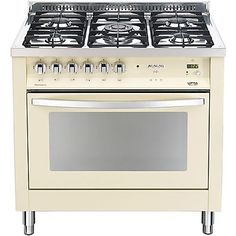 Cucine : PBIG 96GVT/C LOFRA CUCINA COLORATA AVORIO CON PIANO IN ACCIAIO 5 FUOCHI A GAS 90X60 FORNO A GAS VENTILATO DA 94 Lt