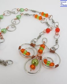 Wire wrap orange beads necklace - IsraeliMade