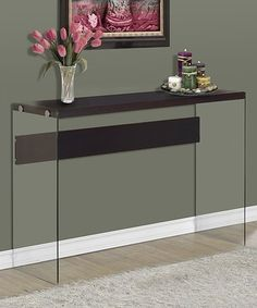 Another great find on #zulily! Cappuccino Tempered Glass Console Table #zulilyfinds