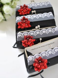 ''thank you for being a loving friend'' - sweet message on the inside of these clutches. Great bridesmaid gift! http://www.etsy.com/listing/106428228/custom-personalized-message-label