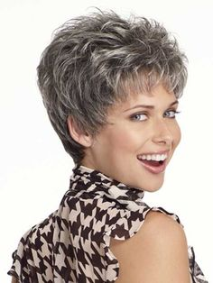 Curly Beautiful Wig Cut Short Pixie Wigs for Women Style Synthetic Gray Hair Wig with Bangs - Short Hair Styles Hair Styles For Women Over 50, Short Hair Cuts For Women, Short Hairstyles For Women, Straight Hairstyles, Grey Pixie Hair, Grey Hair Wig, Brown Hair, Short Grey Haircuts, Layered Haircuts