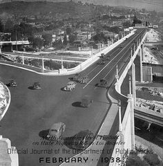 PASADENA:  On July 20, 1940, California officially opens the first U.S. freeway, the Arroyo Seco Parkway. The opening marked a transition for U.S. roads from early parkways to modern freeways.