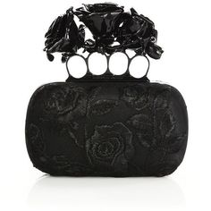 Alexander McQueen Rose-Embroidered Silk Knuckle Box Clutch (€4.165) ❤ liked on Polyvore featuring bags, handbags, clutches, black, apparel & accessories, knuckle box clutch, black purse, black evening clutches, box clutch and evening purse