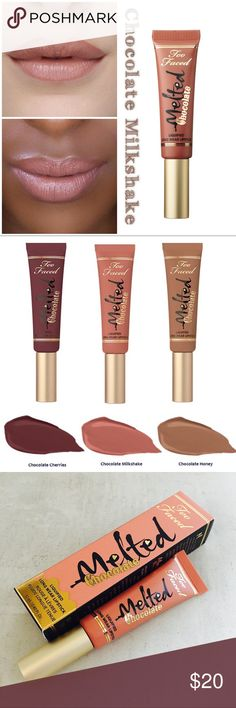 💋 TOO FACED Melted Chocolate - Choc Milkshake Too Faced's bestselling Melted Liquified Lipsticks went through the candy factory for a delectable makeover in cocoa-powder-infused shades. Each mouth-watering tube comfortably coats lips in bursts of intense, high-impact, saturated color, while an innovative, angled velvet tip allows for precise application. Exclusive technology inspired by the molten form of lipstick during lab production keeps lipsticks melted for the most high impact color…