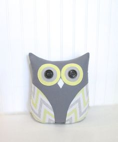 Owl pillows are a great addition to any room in your home. This adorable gray, yellow and white chevron stripe owl measures approximately 11 x