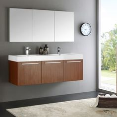 Shop for Fresca Vista Teak 60-inch Wall-hung Double-sink Modern Bathroom Vanity with Medicine Cabinet. Get free delivery at Overstock.com - Your Online Furniture Outlet Store! Get 5% in rewards with Club O! - 19635068