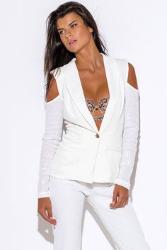Missy K's End Of The Year Online Shopping Spree Via @1015store  Follow Me At Pinterest/MissyKsClosetCute cheap ivory white sequined long sleeve cold shoulder cut out blazer jacket