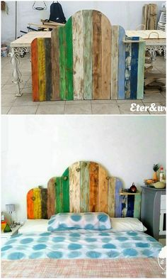 This wood pallet colorful painted headboard is beautifully designed with the involvement of the different paint hues being done over it. You would be falling in love with this headboard design that is so classy and modern looking in designing variations. Pallet Crafts, Diy Pallet Projects, Wood Projects, Wood Crafts, Unique Home Decor, Home Decor Items, Painting On Pallet Wood, Painted Headboard, Headboard Designs