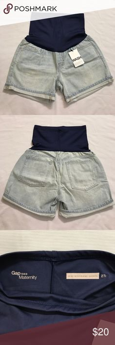 "Maternity Shorts 5 pockets. Boyfriend shorts 27 R. Light wash. Inseam 4.5"" Rise 6"" Across Waist 15"" Across Hip 21"" Total Length 19.5"" GAP Shorts"