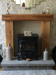 Faux oak fireplace