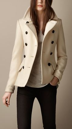 Absolutely adore this Burberry Wool Cashmere Pea Coat!  A girl can dream...