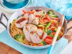 Sesame-crusted pork and noodles