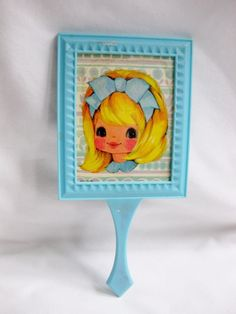 vintage blue plastic hand mirror w/ blonde girl picture