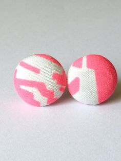 Pink Neon Fabric covered button earrings Minimalist by Rubenabird