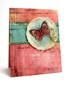 butterfly stamped on distressed canvas!!