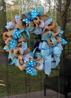 Burlap Wreath with Teal (Turquoise Aqua) Chevron and Polka Dot Ribbon - Spring, Summer www.etsy.com/shop/simplyblessedgift
