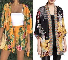 Discover recipes, home ideas, style inspiration and other ideas to try. Kimono Diy, Kimono Floral, Cardigan Kimono, Kimonos Fashion, Kimono Sewing Pattern, Recycled Shirts, African Dresses For Kids, Summer Kimono, Diy Clothes