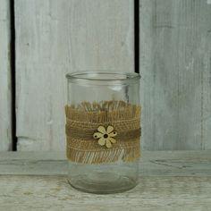 Glass Jar with Hessian Ribbon Decoration