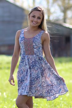 This Lace Inset Print Dress is too cute for any fashionista. Everybody will be calling you darling for sure! $39.99 at tyalexanders.com