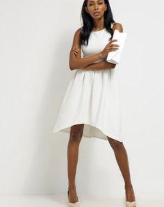Biała Sukienka asymetryczna koktajlowa mint