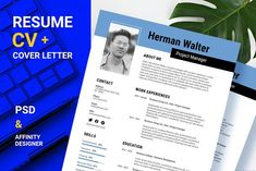 Resume Cover Letter Template, Cv Template, Templates, Project Manager Cover Letter, Writing About Yourself, Affinity Designer, Resume Cv, Professional Resume, Education