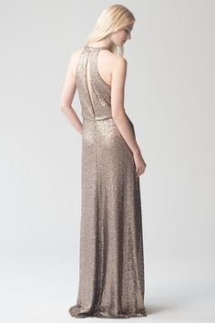 Sloane Dress in Hazel Sequin Tulle by Jenny Yoo. Gold, metallic sequin bridesmaids dress. For an elegant, formal, classic wedding.