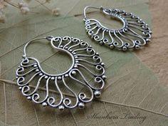 White Brass Earrings Tribal Earrings Hoop by ShankaraTrading