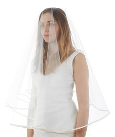 SALE ALERT! White & ivory sheer satin trim veil by SIMONE MARULLI @secretsales #weddings #salealert #veil #bride #white #satin #fashion