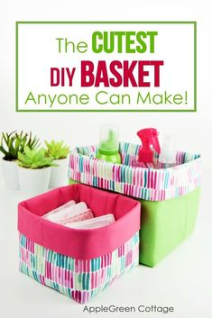 Probably the best diy basket pattern out there! See how to sew a basket in 3 different sizes, for all your storage needs. This useful handmade storage basket can be used in any room around the house; keep items together in a safe place, perfect for baby items, childrens toys, make up, bathroom organiser and more. These diy fabric baskets are so cute and super easy to sew. #fabricbasket #diybasket #freepattern #sewing #sewabasket Sewing Baskets, Storage Baskets, Storage Ideas, Sewing Hacks, Sewing Tutorials, Dress Tutorials, Sewing Patterns Free, Free Sewing, Sewing Diy