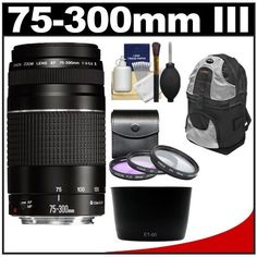 Canon EF 75-300mm f/4-5.6 III Zoom Lens with Backpack + 3 UV/FLD/CPL Filters + Hood + Cleaning Kit for EOS 60D, 7D, 5D Mark II III, Rebel T3, T3i, T4i Digital SLR Cameras by Canon. $224.95. Kit includes:♦ 1) Canon EF 75-300mm f/4-5.6 III Zoom Lens♦ 2) Zeikos 3-Piece Multi-Coated Glass Filter Kit (58mm UV/FLD/CPL)♦ 3) Precision Design ET-60 Lens Hood for Canon 75-300mm III, III USM, 55-250mm IS♦ 4) Zeikos ZE-BP2-S Deluxe Sling Digital SLR Camera Backpack Cas...