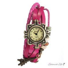 Leder Armbanduhr Eifelturm VINTAGE  pink  im Organza Beutel