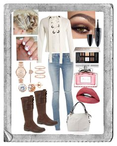 """""""Distressed Denim & Rose Gold weekend Ensemble"""" by snowflakeunique ❤ liked on Polyvore featuring Polaroid, Yves Saint Laurent, Joseph, UGG, Maybelline, Givenchy, SoGloss, Christian Dior, Michael Kors and Accessorize"""