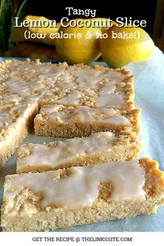 This lemon coconut slice is heaven for any sweet tooth. It's soft and sweet with a delicious lemon tang; no one will ever know that it is low calorie! Lemon Desserts, Lemon Recipes, Milk Recipes, Best Dessert Recipes, Unique Recipes, Sweet Recipes, Low Calorie Baking, Healthy Baking, Lemon Coconut Slice