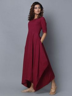 This stunning burgundy dress is best for any fall event! We love the soft and stretchy material - it's so simple to love on a changing fall day! Kurti Neck Designs, Kurta Designs Women, Blouse Designs, Stylish Dresses, Casual Dresses, Sexy Dresses, Summer Dresses, Linen Dresses, Modest Outfits