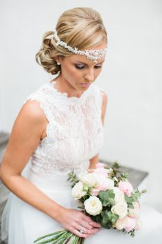 Beautiful bride wearing the Bo & Luca 'Flora' headpiece on her wedding day.