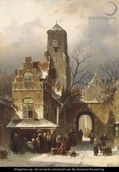A Market Scene In A Wintry Dutch Town - Charles Henri Leickert