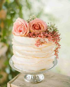 Trending Now: Deckle-Edged Wedding Cakes | Martha Stewart Weddings - Topped with fresh flowers and berries, this layered deckle-edge wedding cake is perfect for a romantic bride.