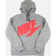 Nike AW77 LOGO PULLOVER HOODIE (HEATHER/RED) ($60) ❤ liked on Polyvore featuring tops, hoodies, shirts, jackets, outerwear, red pullover hoodie, nike shirts, pullover hoodie, logo shirts and nike hoodie