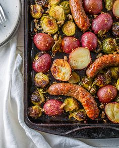 Sausage And Brussel Sprouts Recipe, Dinner With Brussel Sprouts, Brussels Sprouts, Pork Recipes, Wine Recipes, Cooking Recipes, Chicken Sausage Recipes, Sheet Pan Suppers, Bon Appetit