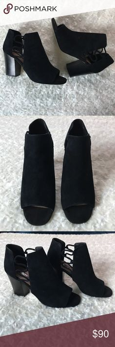 """TAHARI OPEN TOE BOOTIES Side cutouts tied up in ghillie lace-up  Almond-toe slip on booties   3"""" Stacked Blocked Heel  Suede/manmade upper/sole  Used once, some areas are a bit faded out see pictures Tahari Shoes Ankle Boots & Booties"""