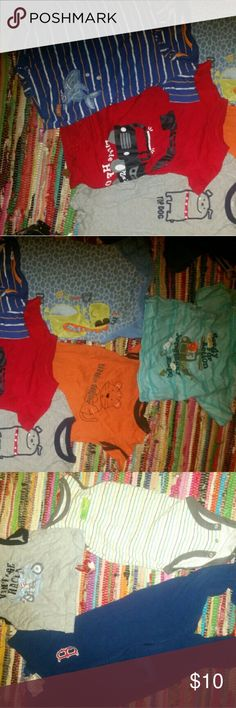 Boys 12 to 18 month lot I have one footsie pj redsox, a onsie for summer abs tee 12 months.  Also 5 short type onsie for summer as well abd a short sleeve 18 months Carter's Shirts & Tops