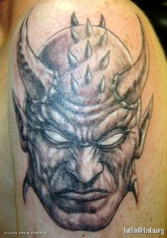 What does demon tattoo mean? We have demon tattoo ideas, designs, symbolism and we explain the meaning behind the tattoo. Evil Tattoos, Head Tattoos, Skull Tattoos, Body Art Tattoos, Horror Tattoos, Tatoos, Grim Reaper Tattoo, Demon Tattoo, Sick Tattoo